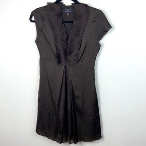 Ted Baker Brown Ruffle Bib Short Sleeve Dress Silk
